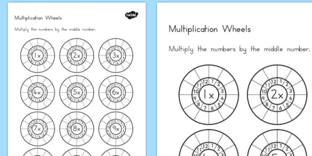 Multiplication Wheels Worksheet - australia, multiplication