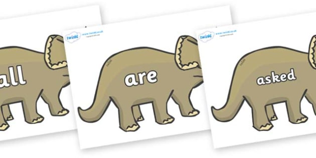 Tricky Words on Triceratops - Tricky words, DfES Letters and Sounds, Letters and sounds, display, words
