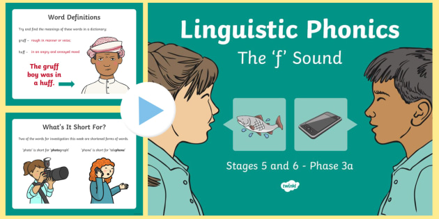 Northern Ireland Linguistic Phonics Stage 5 and 6 Phase 3a, 'f' Sound PowerPoint - Linguistic Phonics, Phase 3a, Northern Ireland, 'f' sound, sound search, word sort, investigatio