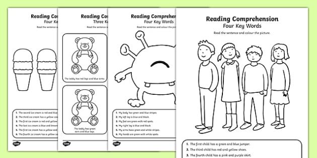 Reading Comprehension - Four Key Words Activity Sheet Pack, worksheet