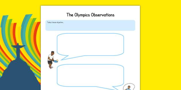 The Olympics Observation Speech Bubbles - EYFS, PE, Physical Development