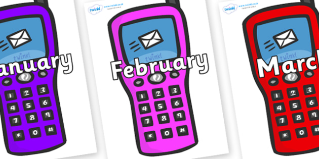 Months of the Year on Mobile Phone - Months of the Year, Months poster, Months display, display, poster, frieze, Months, month, January, February, March, April, May, June, July, August, September