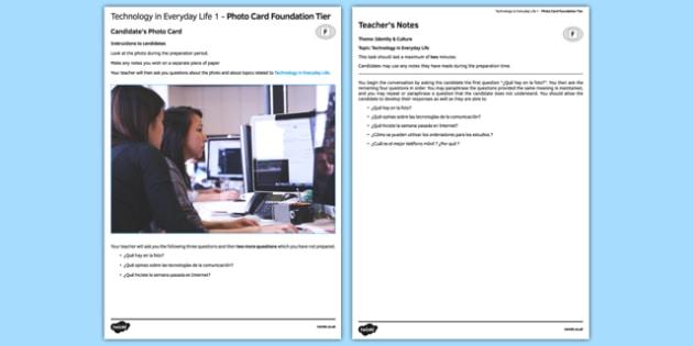 Las tecnologías del día a día 1 Tarjetas con foto Foundation Tier - spanish, technology, tecnologías, tablet, mobile, computer, photo-card, foundation, speaking