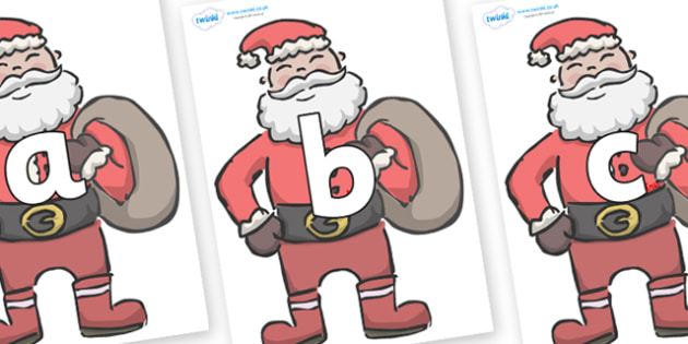 Phoneme Set on Santas - Phoneme set, phonemes, phoneme, Letters and Sounds, DfES, display, Phase 1, Phase 2, Phase 3, Phase 5, Foundation, Literacy
