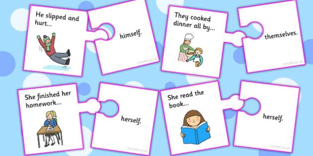 Reflexive Pronoun Jigsaw - pronouns, literacy, literacy games