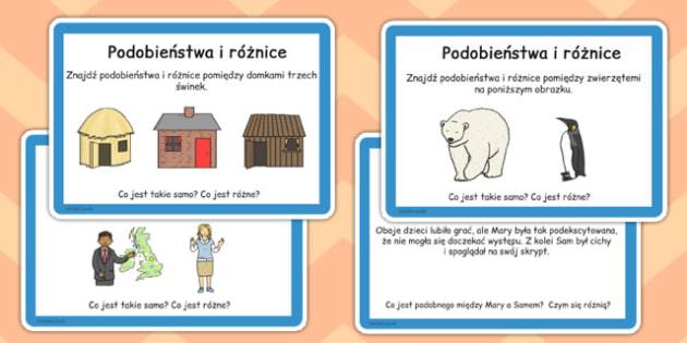 Karty do czytania ze zrozumieniem Podobieństwa i różnice po polsku