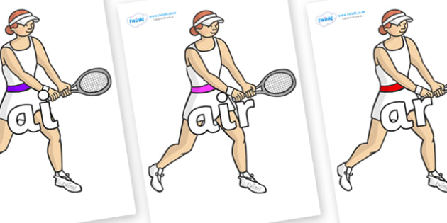 Phase 3 Phonemes on Tennis Players - Phonemes, phoneme, Phase 3, Phase three, Foundation, Literacy, Letters and Sounds, DfES, display