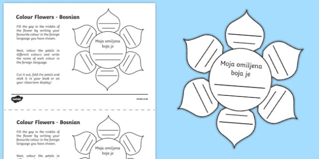 MFL Bosnian Colour Flowers Activity Sheet, worksheet
