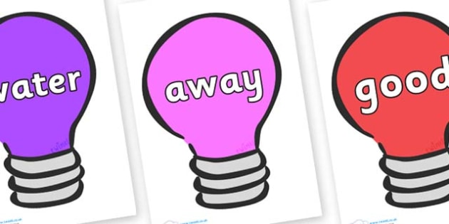 Next 200 Common Words on Lightbulbs (Multicolour) - Next 200 Common Words on  - DfES Letters and Sounds, Letters and Sounds, Letters and sounds words, Common words, 200 common words
