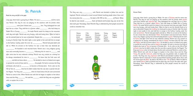 Saint Patrick Cloze Activity with Word Bank Third and Fourth Class - gaeilge, Saint Patrick, cloze, reading, religion, Ireland, answers
