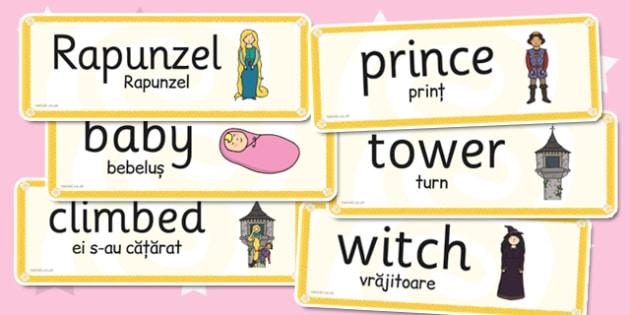 Rapunzel Word Cards Romanian Translation - romanian, rapunzel