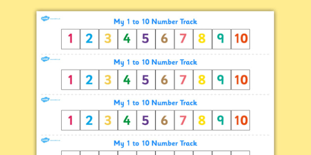 Numbers 1-10 Numbertrack - Maths, Math, number track, numbertrack, Counting, Numberline, Number line, Counting on, Counting back
