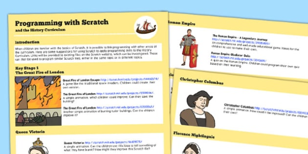 Programming with Scratch and the History Curriculum Help Sheets