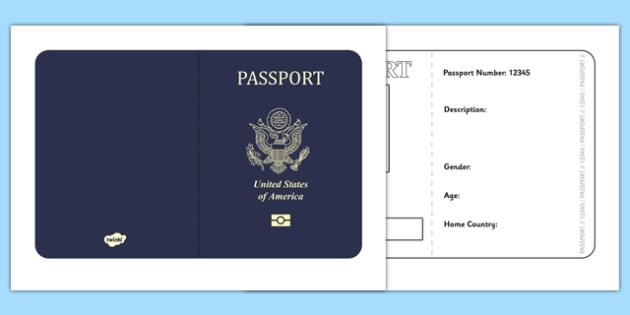American Passport Template - Passport, Design, holiday, holidays, travel, passport design, fine motor skills, card template, holidays, water, tide, waves, sand, beach, sea, sun, holiday, coast