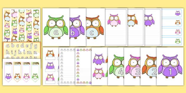 Cute Owl Rainbow Themed Classroom Display and Stationery Pack - cute owl, rainbow, classroom display, stationary