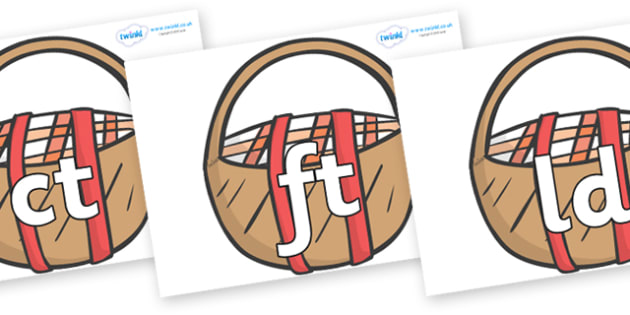 Final Letter Blends on Picnic Baskets to Support Teaching on The Lighthouse Keeper's Lunch - Final Letters, final letter, letter blend, letter blends, consonant, consonants, digraph, trigraph, literacy, alphabet, letters, foundation stage literacy