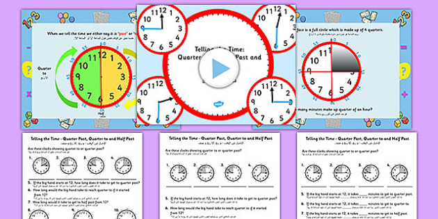 Telling the Time - Quarter Past, Half Past, Quarter to Task Setter PowerPoint and Activity Sheets Arabic Translation - arabic, telling the time, minutes, task setter, powerpoint, worksheets