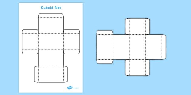 3D Net for Cuboid - cuboid, net, shape, 3D, cut out, maths, 3D shape, net, cuboid, rectangular prism