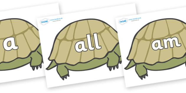 Foundation Stage 2 Keywords on Tortoises - FS2, CLL, keywords, Communication language and literacy,  Display, Key words, high frequency words, foundation stage literacy, DfES Letters and Sounds, Letters and Sounds, spelling