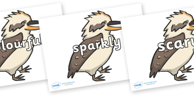 Wow Words on Kookaburras - Wow words, adjectives, VCOP, describing, Wow, display, poster, wow display, tasty, scary, ugly, beautiful, colourful sharp, bouncy