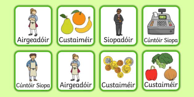 An t-Ollmhargadh The Supermarket Irish Gaeilge Role Play Badges-Irish