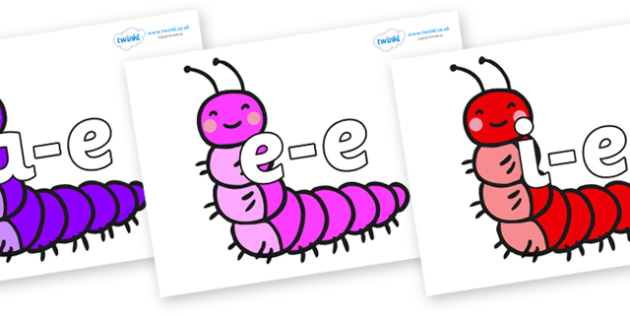 Modifying E Letters on Caterpillars - Modifying E, letters, modify, Phase 5, Phase five, alternative spellings for phonemes, DfES letters and Sounds