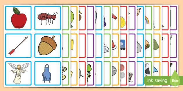 Initial Sound Picture Square Peg Labels - initial sound, picture, square, peg, labels, display