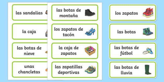 Tarjetas de vocabulario La zapatería - tienda, vender, juego simbólico