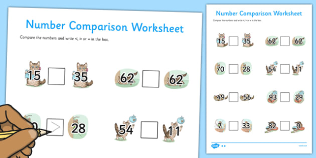 Beatrix Potter - The Story of Miss Moppet Number Comparison Worksheets - beatrix potter, miss moppet