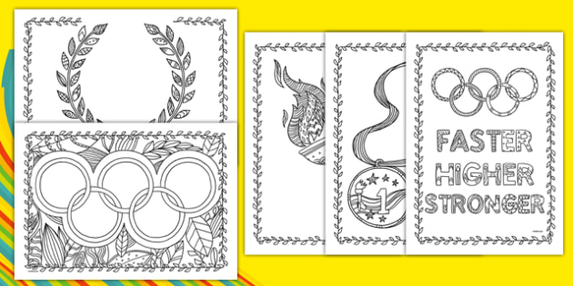 Olympics Mindfulness Colouring Pages