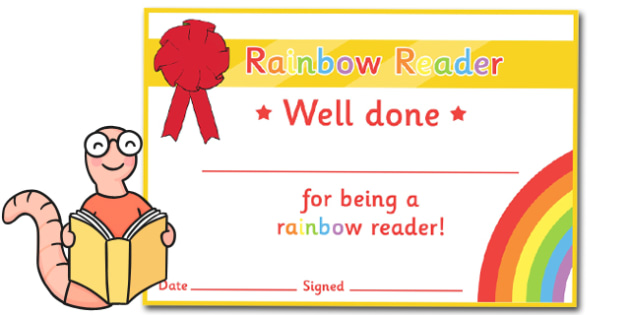 Editable Rainbow Reader Book Certificates - Editable Book Colours Reading Certificates, colour, rainbow, reading, read, books, editable, book, certificates, award, well done, reward, medal, rewards, school, general, certificate, achievement