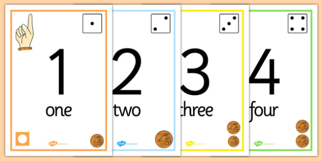 Visual Number Line Poster 1-20 Euros - numeracy, visual, posters