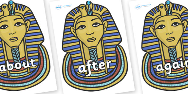 KS1 Keywords on Mummy Masks - KS1, CLL, Communication language and literacy, Display, Key words, high frequency words, foundation stage literacy, DfES Letters and Sounds, Letters and Sounds, spelling