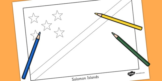 Solomon Islands Flag Colouring Sheet - countries, geography, flag