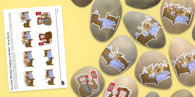 Five Little Monkeys Jumping on the Bed Story Stone Image Cut Outs - Story stones, stone art, painted rocks, Nursery Rhymes, number rhymes