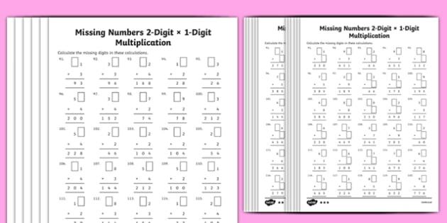 Multiplication 2-Digit x 1-Digit Missing Numbers Differentiated Activity Sheet Pack, worksheet