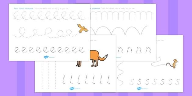 The Gruffalo Pencil Control Worksheets - australia, gruffalo