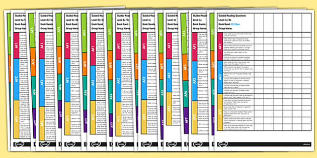 Guided Reading Questions by Book Band - read, question, guide