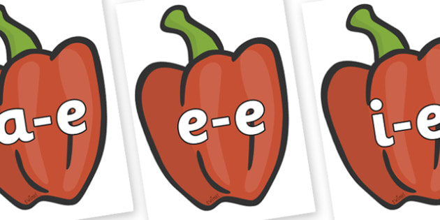 Modifying E Letters on Peppers (Plain) - Modifying E, letters, modify, Phase 5, Phase five, alternative spellings for phonemes, DfES letters and Sounds