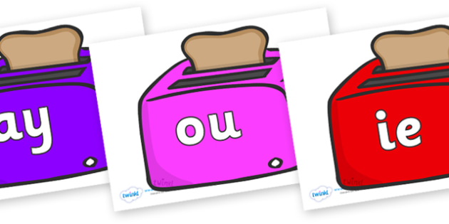 Phase 5 Phonemes on Toasters - Phonemes, phoneme, Phase 5, Phase five, Foundation, Literacy, Letters and Sounds, DfES, display
