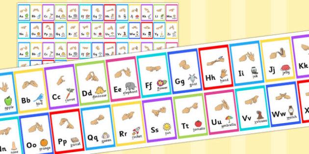 British Sign Language Alphabet Strips - alphabet, strips, sign