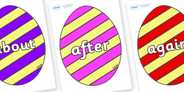 KS1 Keywords on Easter Eggs (Stripes) - KS1, CLL, Communication language and literacy, Display, Key words, high frequency words, foundation stage literacy, DfES Letters and Sounds, Letters and Sounds, spelling