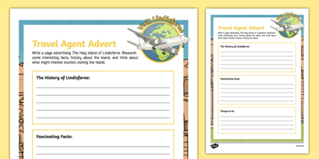 Lindisfarne Travel Agent Writing Activity Sheet , worksheet