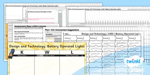 PlanIt - DT LKS2 - Battery Operated Lights Unit Assessment Pack - planit, dt, design and technology, battery operated lights, assessment pack