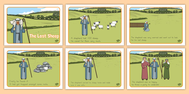 The Lost Sheep Story Sequencing - usa, the Lost Sheep, sheep, shepherd, lost sheep, sequencing, story sequencing, story resources, A4, cards, 100, 99, search, searching, looking for, safe, carried home, bible story, bible, party, happy