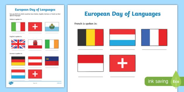 European Day of Languages Activity Sheet, worksheet
