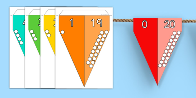 Number Bonds to 20 Bunting - number bonds, 20, bunting, display