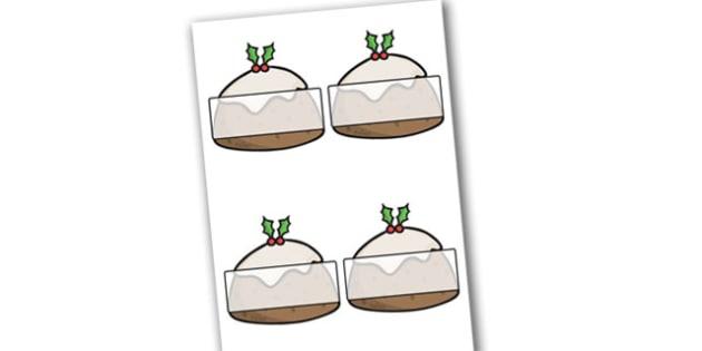 Self Registration Christmas Puddings Editable  - christmas, label