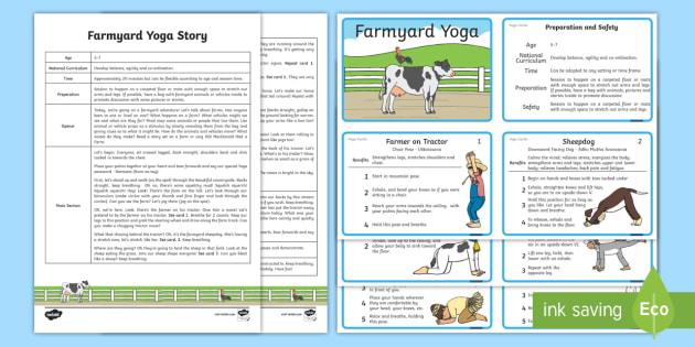 Farmyard Yoga Story - Yoga, health, stress, calm, peace, KS1, KS2, well being, anxiety, work life balance, WLB