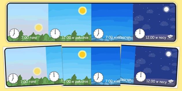 Materiały na gazetkę Dzień i noc po polsku - czas, godzina
